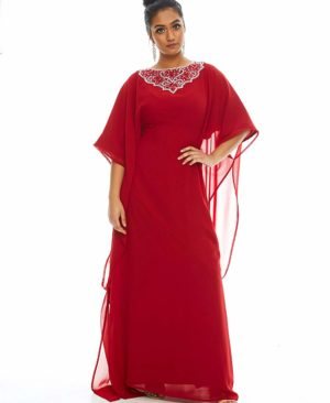 Evening Dress Silver & Stone Work Party Wear Dubai Kaftan