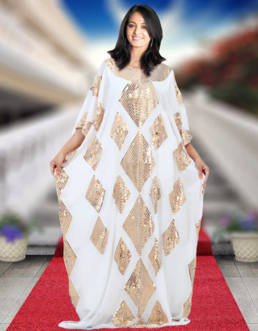 Embellished Maxi Dubai Golden Beaded Wedding Evening Kaftan