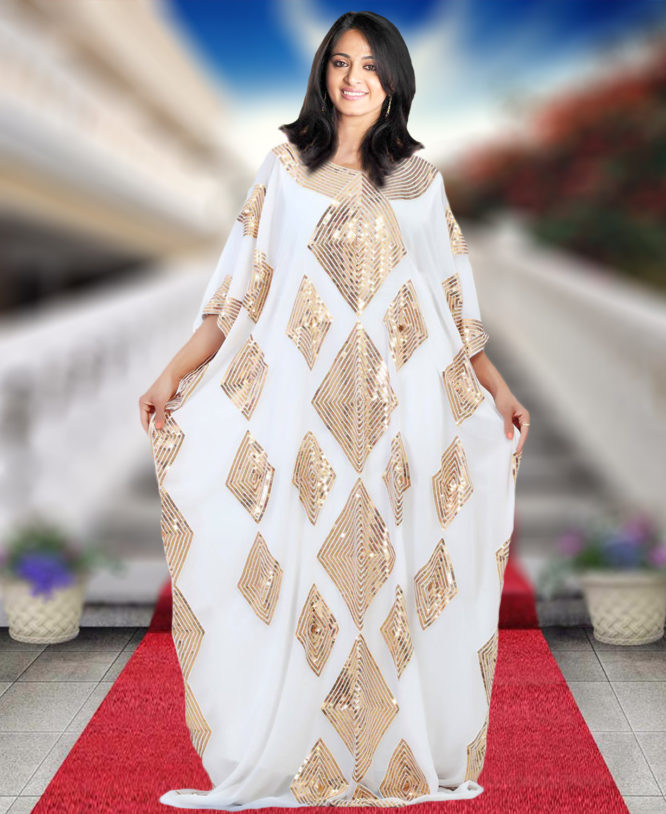 Embellished Maxi Dubai Golden Beaded Wedding Evening Kaftan