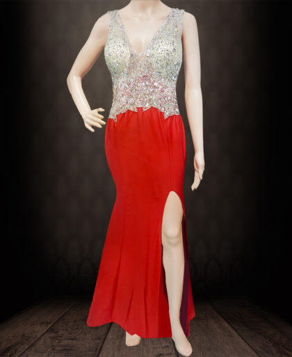 Sleeveless Party Wear V-Neck Crystal Beaded Mermaid Dress