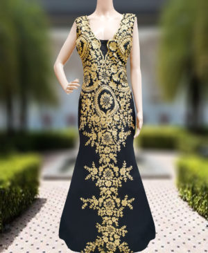 Beautiful Sleeveless Back & Front Golden Work Beaded Kaftan