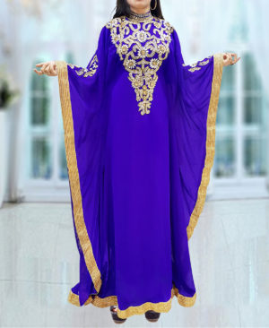 Long Sleeve Kaftan Evening Dress Golden Work Kaftan
