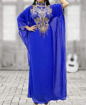 African Boutique Dubai Kaftan Abaya Jalabiya Maxi Gown Hand Work Golden Beaded African Dress
