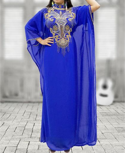 African Boutique Dubai Kaftan Abaya Jalabiya Maxi Gown Hand Work Golden Beaded African Dress