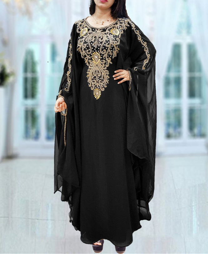 Dubai Kaftan for Women Beads work Maxi Dress Gown Formal Chiffon African Wear