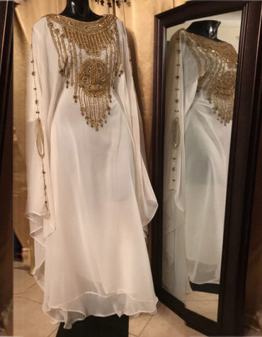 Moroccan Abaya Dubai Golden Beaded Kaftan Dress
