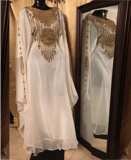 Moroccan Abaya Dubai Golden Beaded Kaftan Dress