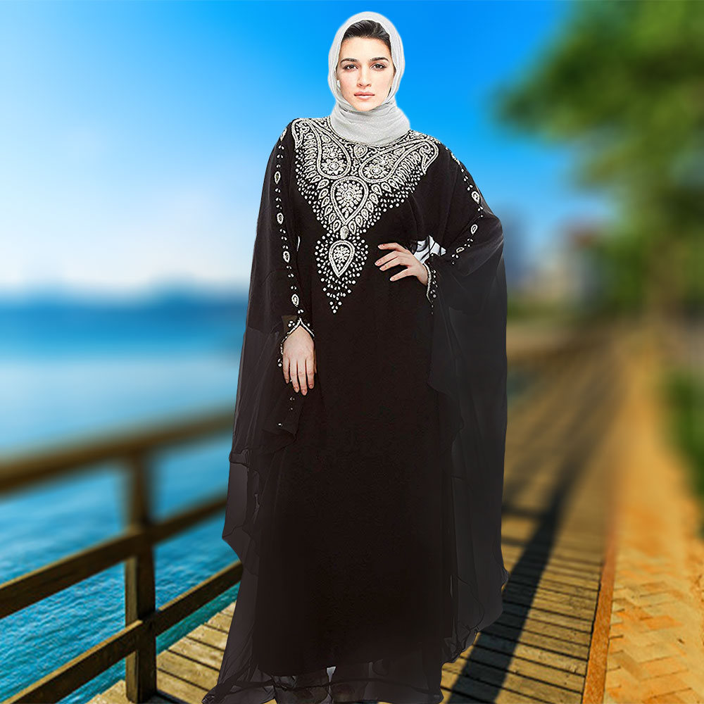 debba56f6c Evening Dress Silver Work Party Wear Dubai Kaftan