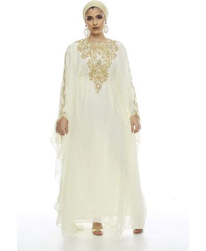 Moroccan Abaya Golden Beaded Dubai Kaftan