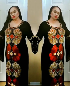 Million Rhinestone Sparkling Embellished Black Dubai Kaftan