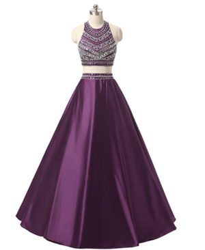 omen's Two Pieces Beaded Evening Gowns Satin Sequined Prom Dresses