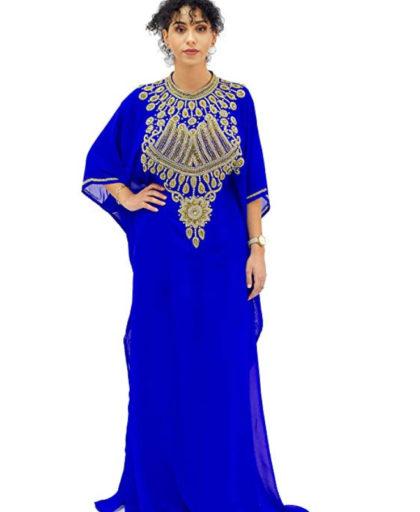 Crystal and Golden Beading Kaftan for Women ¾ Sleeve Chiffon