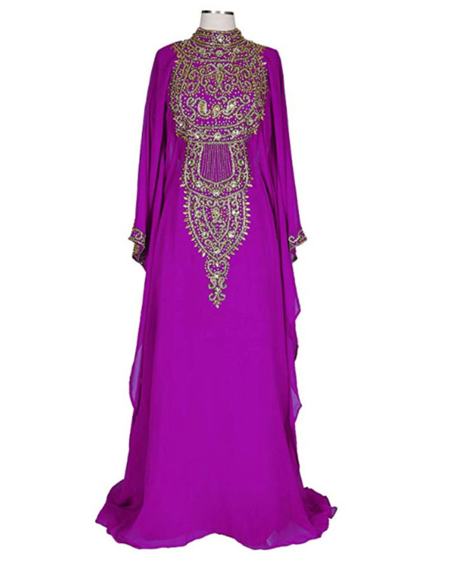 Women Chiffon Maxi Dress Golden Beaded Dubai Kaftan