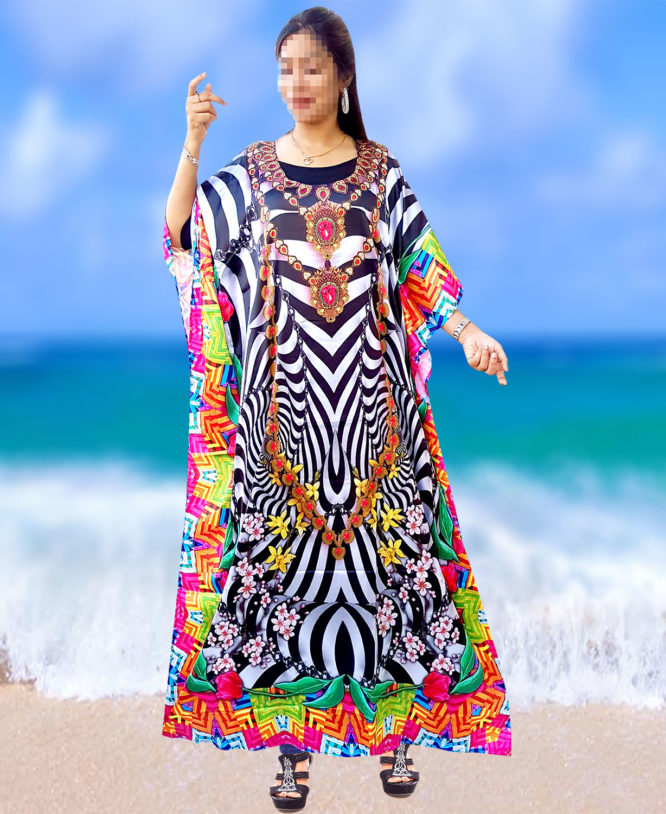 Woman Long Designer Beach Cover Up Unique Digital Printed Kaftan (DP-006)