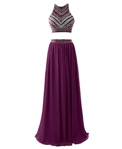 Women's 2018 Two Pieces Beaded Evening Party Gowns Sequined Formal Prom Dresses Long