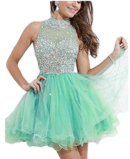 Homecoming Dress Short High Neck Beaded A Line Prom Gown