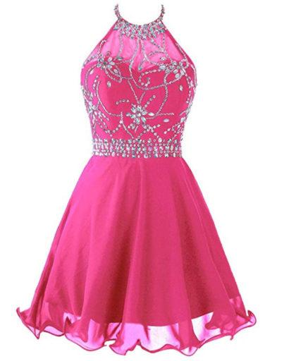 Women's Short Beaded Prom Dress Halter Homecoming Dress Backless