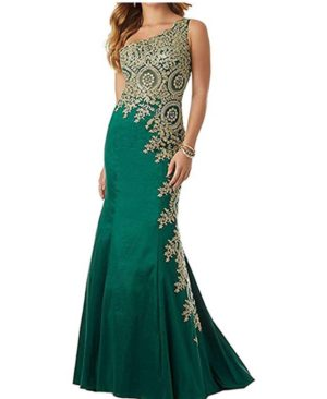 One Shoulder Mermaid Evening Dresses Gold Lace Appliques Long Prom Dress