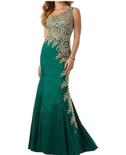 One Shoulder Mermaid Evening Dresses Gold Lace Appliques Long Prom Dress