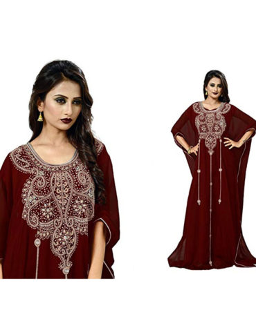 Elegant Moroccan Abaya Beautiful Beaded Dubai Chiffon Kaftan