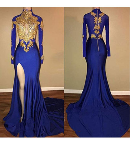 Women's Mermaid High Neck Prom Dress 2018 with Gold Appliques Long Sleeves Evening Gowns