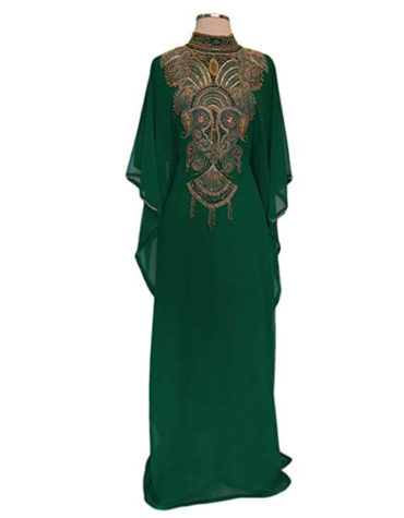 Elhan Golden Beaded Kaftan for Women ¾ Sleeve