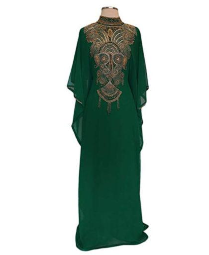 Elhan Golden Beaded Kaftan for Women ¾ Sleeve