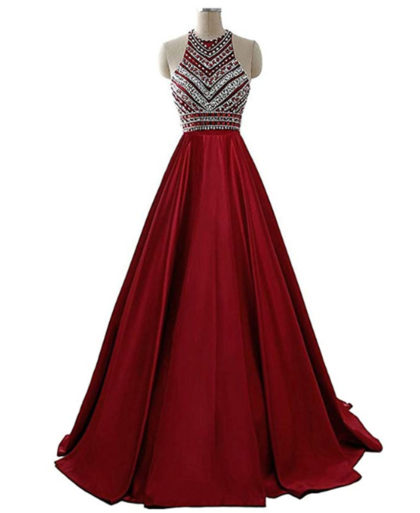 Women's Sequins Evening Party Gowns Beading Formal Prom Dresses Long