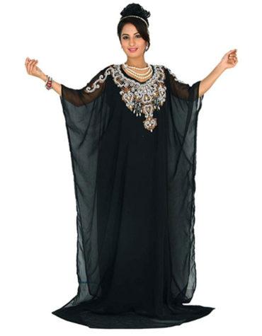 Elegant Moroccan Abaya Beautiful Silver Beads Dubai Chiffon Kaftan