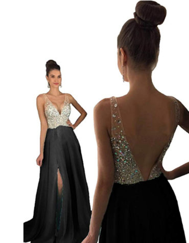 Sleeveless Party Wear V-Neck Crystal Beaded Front Slite Cut Dress