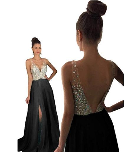 Sleeveless Party Wear V-Neck Crystal Beaded Front Slite Cut Dress