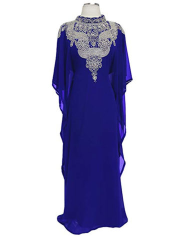 Crystal Silver Stone And Beaded Work Chiffon Kaftan