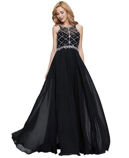Sleeveless Women's Long Prom Scoop Neckline Beaded Dress