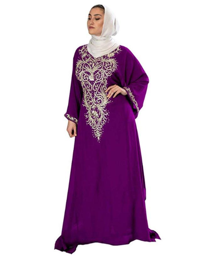 Moroccan Abaya Golden Beaded Dubai Chiffon Kaftan