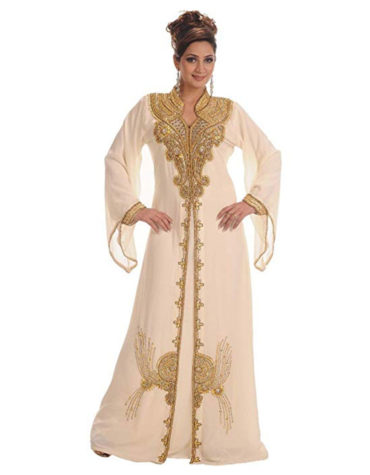 Georgette Long Golden Beaded Designer Kaftan
