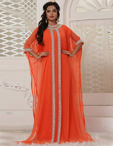Designer Silver Stone And Crystal Work Chiffon Kaftan