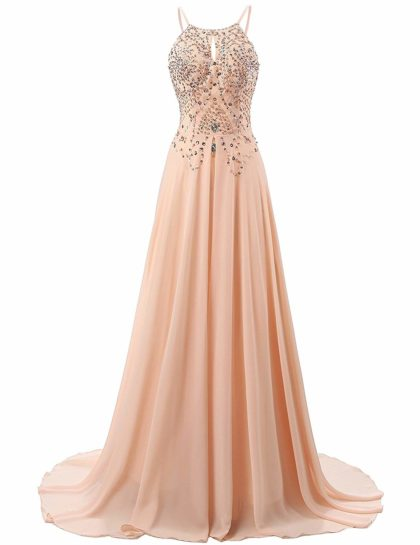 Women's Chiffon A-Line Formal Prom Party Dress Sequins Bridesmaid Gowns