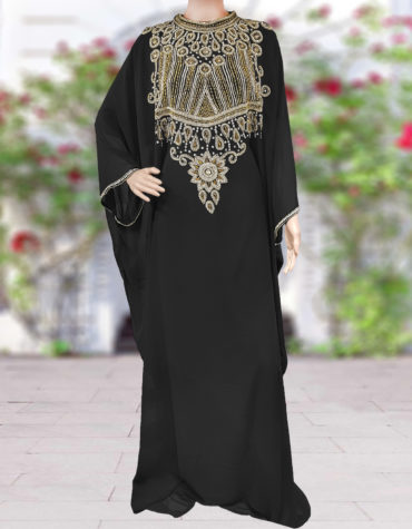 Crystal and Golden Beading Kaftan for Women ¾ Sleeve Chiffon