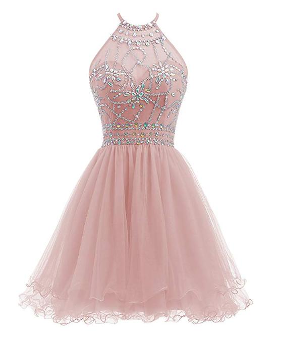 Women's Short Beaded Prom Dress Halter Homecoming Backless Dress