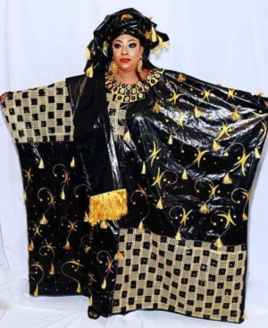 Rich Bazin Golden Embroidery & Rhinestone work Free Size African Dress