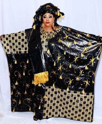 Rich Bazin Golden Embroidery & Rhinestone work Free Size African Dress