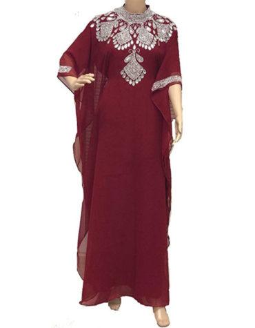Farasha Jalabiya Abaya Long Women Chiffon Dubai Kaftan