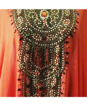 Women African Farasha Golden Beads & Stone Work Chiffon Kaftan