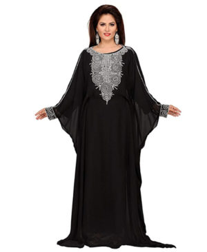 Farasha Silver Beaded Long Women Chiffon Dubai Kaftan