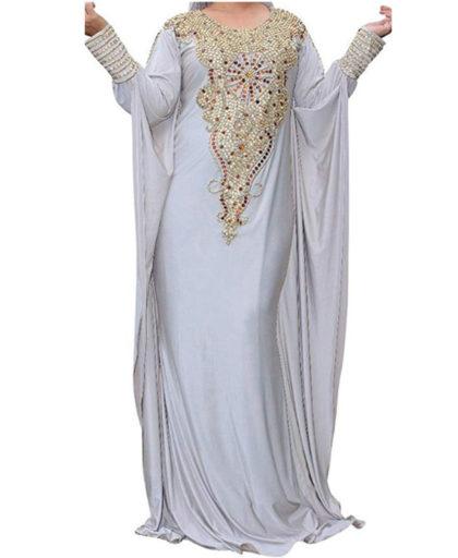 Morrocon Golden Beads Party Wear Dubai Lycra Kaftan