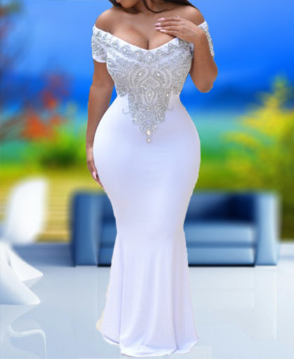 Spandex Kaftan Ladies Fashion Exclusive Queen Off Shoulder Design