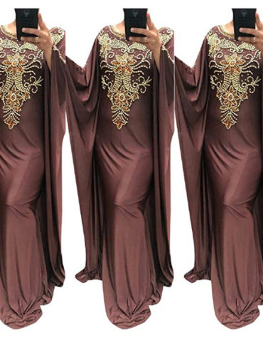 Floral Design Golden Morrocon Beads Lycra Dubai Kaftan