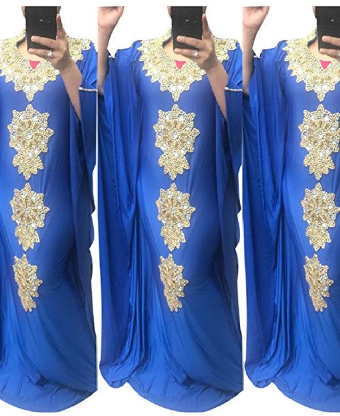 Party Wear Golden Morrocon Beads Spandex Dubai Kaftan