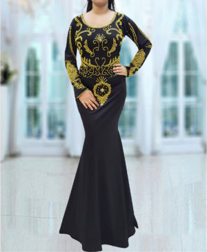 Embroidered Hand Beaded Spandex Moroccan Kaftan Dresses for Women