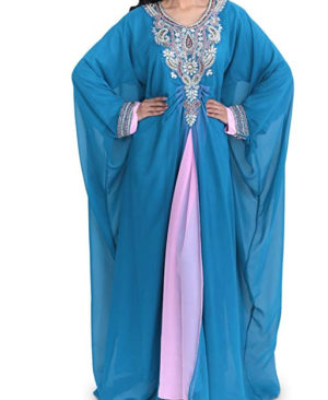 Beautiful Golden Beads & Two Color Chiffon Dubai Kaftan